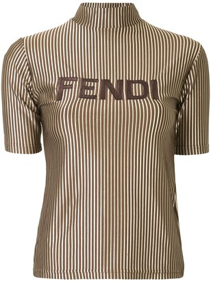 Fendi Pre Owned metallic striped logo T-shirt