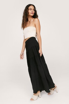 Nasty Gal Womens Textured Tiered Ruffle Hem Maxi Skirt - Black - 4
