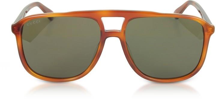 Gucci GG0262S Rectangular-frame Light Havana Brown Acetate Sunglasses
