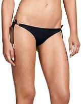 Vix Women's Solid Full Bikini Bottom with Ivory Long Tie
