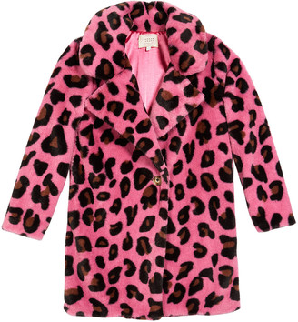 Hannah Banana Long Animal-Print Faux-Fur Coat, Size 4-6X