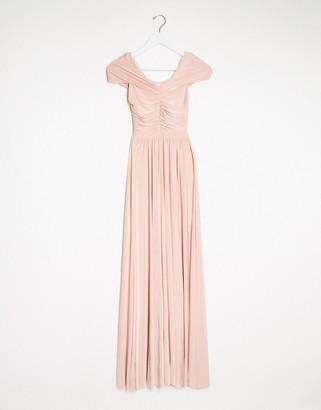 Goddiva bardot maxi dress in pink