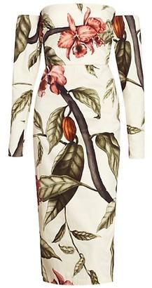 Johanna Ortiz Dense Jungle Off-The-Shoulder Sheath Dress