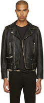 Saint Laurent Black Leather Worn Classic Moto Jacket