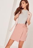 Missguided Eyelet Aysmmetric Wrap Skirt Pink