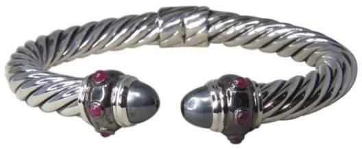 David Yurman Sterling Silver Hematine & Ruby Renaissance Cuff Bracelet