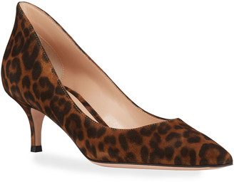 Gianvito Rossi High-Back Leopard Suede Low-Heel Pumps