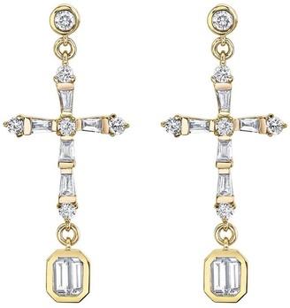 Shay 18kt Yellow Gold Baguette Diamond Cross Drop Earrings