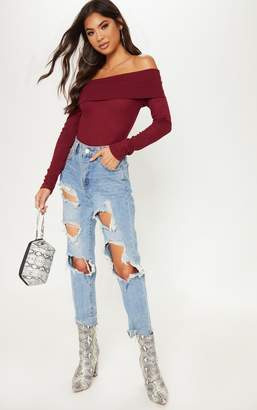 PrettyLittleThing Burgundy Long Sleeve Rib Bardot Bodysuit