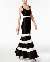 Xscape Evenings Taffeta Striped Mermaid Gown