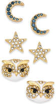 Kate Spade 14k Gold-Plated 3-Pc. Set Pavé Night Sky Stud Earrings