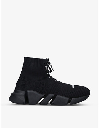 Balenciaga Womens Speed 2.0 stretch-knit mid-top trainers