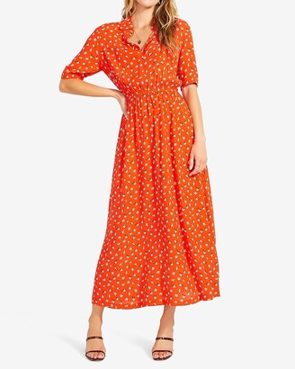 Express Bb Dakota Floral Print Short Sleeve Midi Dress
