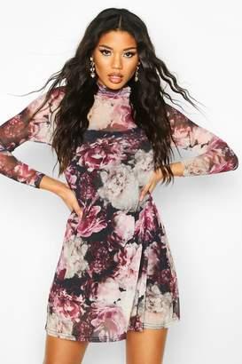 boohoo High Neck Floral Mesh Swing Dress