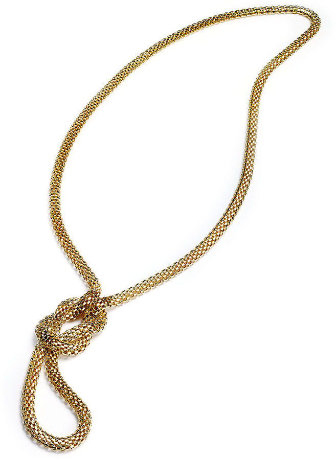 Sequin Necklace, Gold-Tone Knotted Lariat Mesh Necklace