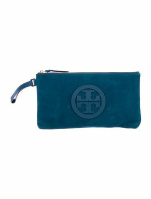 Tory Burch Suede and Leather Zip Pouch Blue