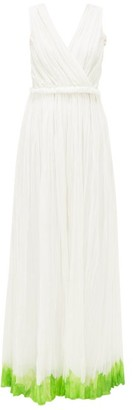 Vika Gazinskaya Goddess Painted-hem Cotton-blend Batiste Dress - White