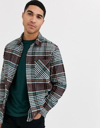 Burton Menswear long sleeve shirt in burgundy check-Red