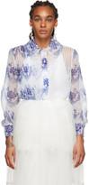 Simone Rocha Blue and Off-White Printed Shirt