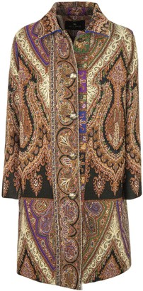 Etro Paisley Pattern Wool And Silk Blend Coat