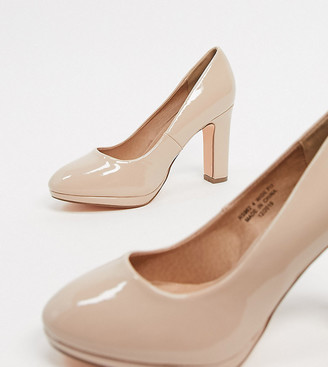 Simply Be wide fit Abigail court shoe in blush