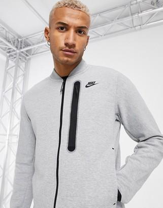 Nike Tech Fleece full-zip sweat bomber jacket in grey