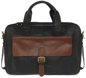 Vida Vida Wandering Soul Black & Tan Leather Laptop Bag