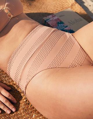 aerie Jacquard High Cut Cheeky Bikini Bottom