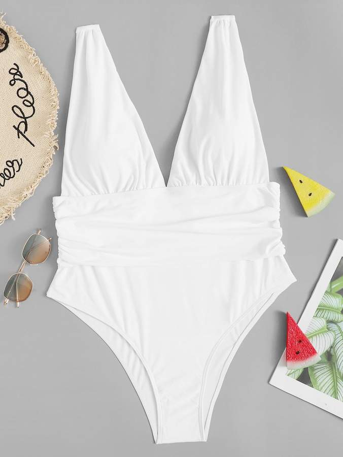 Shein Plus Ruched V-plunge One Piece Swimsuit