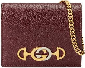 Gucci Zumi Pebbled Card Case/Wallet