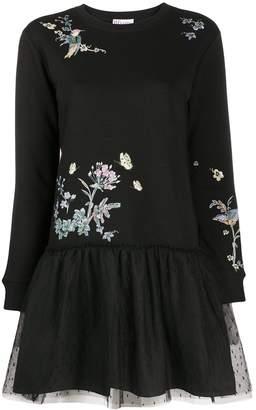 RED Valentino Floral Print Mesh Skirt Dress