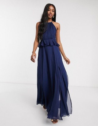 ASOS DESIGN pleated halter maxi dress with ruffle waist detail in navy