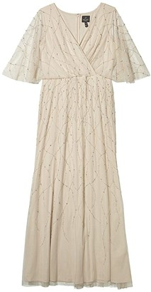 Adrianna Papell Beaded Flutter Sleeve Mermaid Gown (Biscotti) Women's Dress
