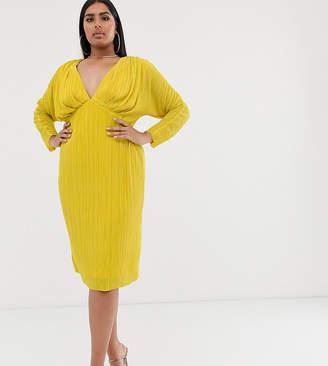 Asos DESIGN Curve batwing sleeve plisse midi dress-Yellow