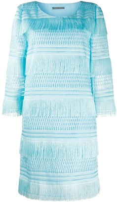 Alberta Ferretti Tiered Fringe Dress