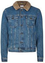 Topman Mid Wash Blue Faux Shearling Collar Denim Jacket