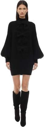 Zimmermann Mohair Blend Knit Mini Dress W/ Bows