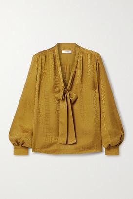 Anine Bing Delilah Pussy-bow Silk-satin Jacquard Blouse - Gold