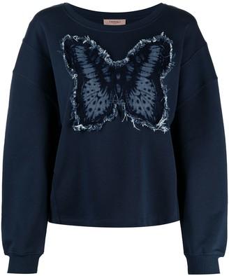 Twin-Set Butterfly Applique Cotton Sweatshirt