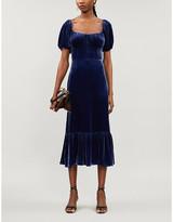 Reformation Suzanne puffed-sleeve velvet midi dress