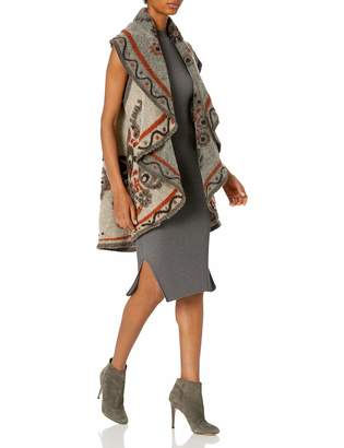 M Made In Italy M Made in Italy Women's Ethnic Style Vest with Shawl Collar