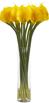 "Nearly Natural 28"" Calla Lilly Artificial Arrangement in Glass Cylinder Vase"