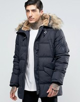 Schott Snork Quilted Hooded Parka Detachable Faux Fur Trim