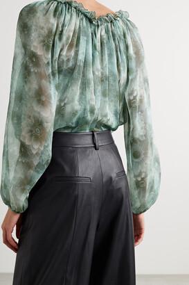 Jason Wu Collection Ruffled Floral-print Silk-chiffon Blouse - Blue
