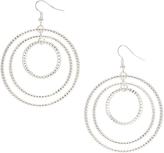 Carole Silvertone Triple-Circle Drop Earrings