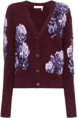 Chloé Floral Intarsia Knit Cardigan