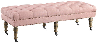Linon Tess Washed Pink 50In Bench