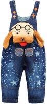 Kidscool Baby Cotton Denim Cartoon Dog With Glasses Star Soft Overalls