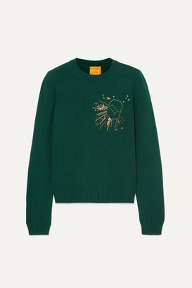 Le Lion - Gemini Embellished Embroidered Wool Sweater - Green