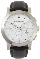 Burberry Check-Dial Leather-Strap Watch, Silver//Black